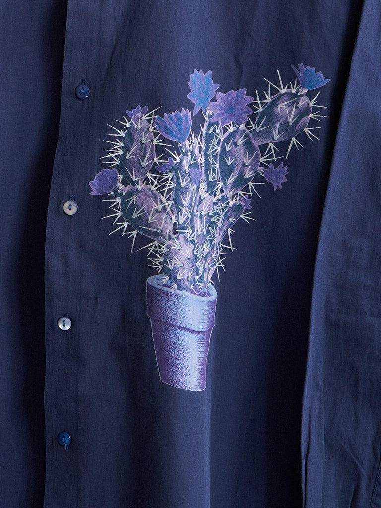 kenzo blue cotton floral pot plant print longsleeve shirt - 1990s