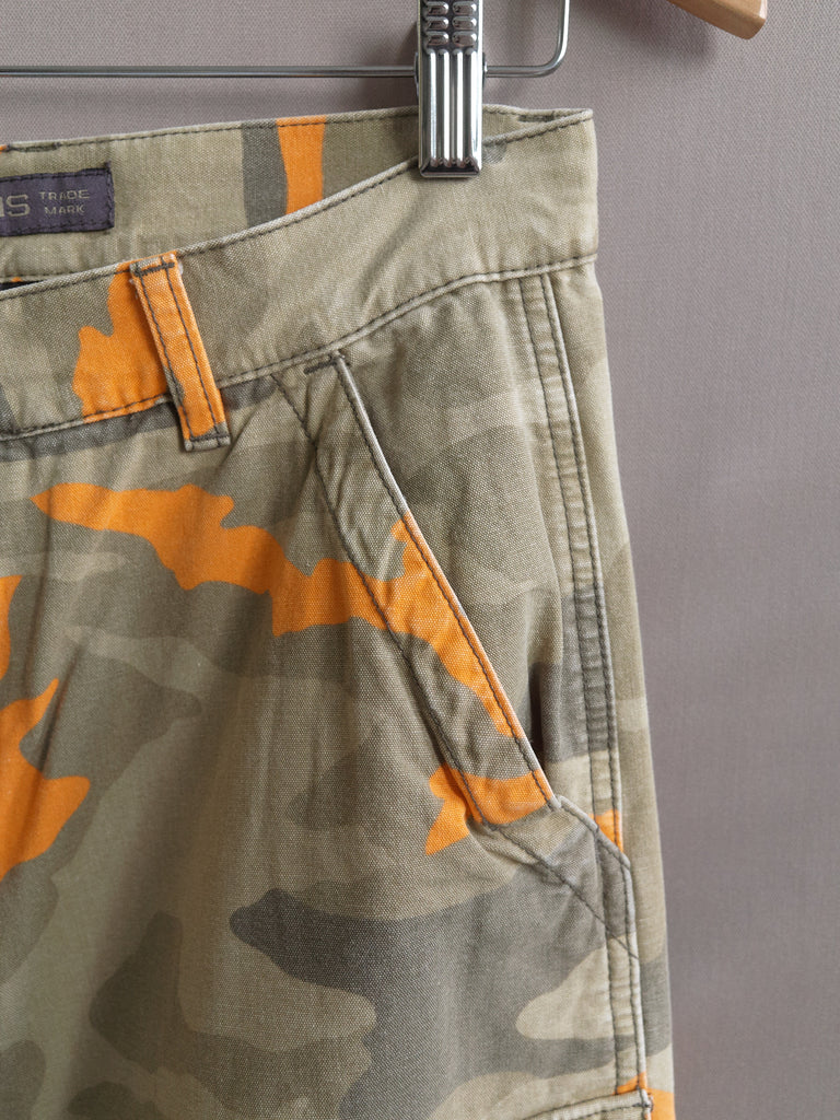 DKNY 1990s beige khaki orange camo multi pocket cargo trousers - womens M