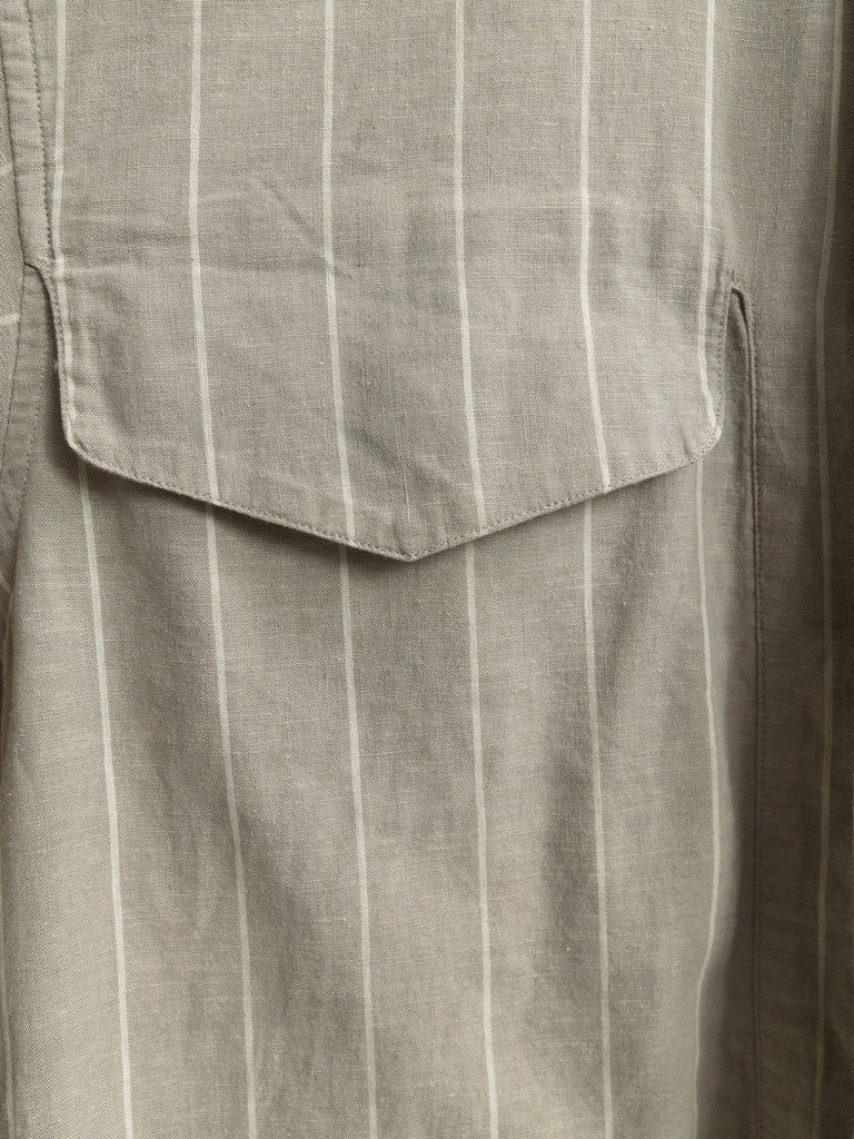Issey Miyake Men 1980s grey beige linen stripe double pocket over shirt - size M