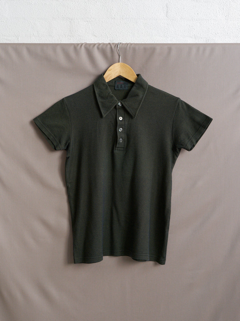 Yohji Yamamoto AAR 1990s green cotton blend irridescent polo shirt - mens XS S