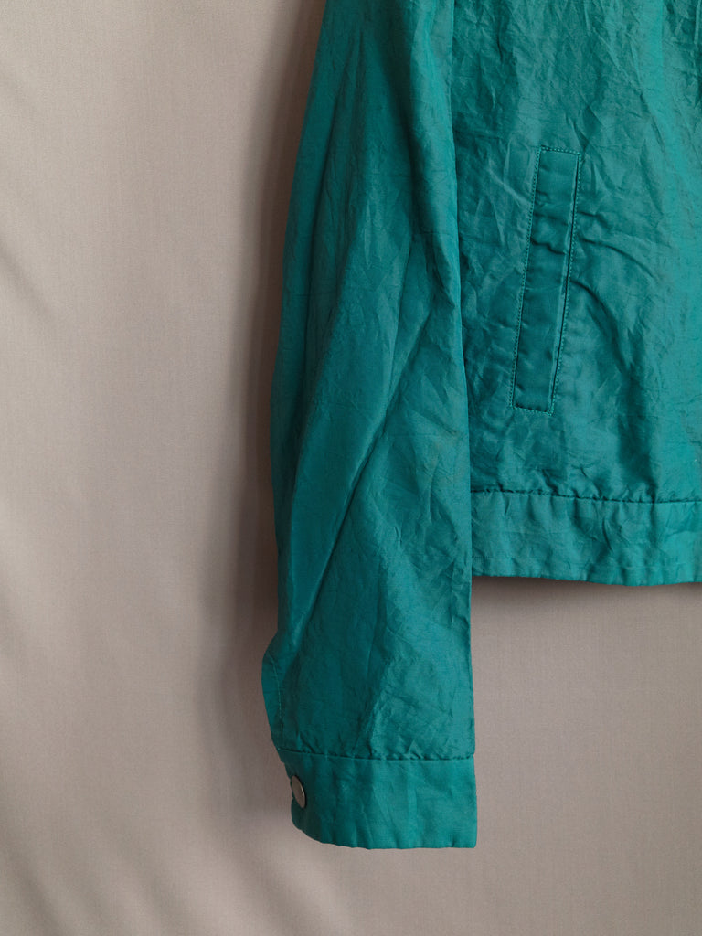 Tricot Comme des Garcons 1995 teal creased nylon snap button jacket - womens M S
