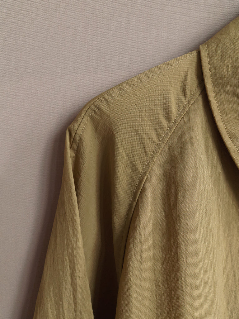 vintage 1990s khaki creased nylon covered placket mackintosh coat - womens M L S