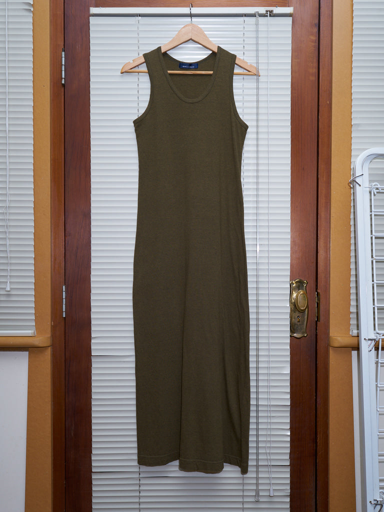 Comme des Garcons 1994 khaki cotton jersey sleeveless maxi dress - womens S