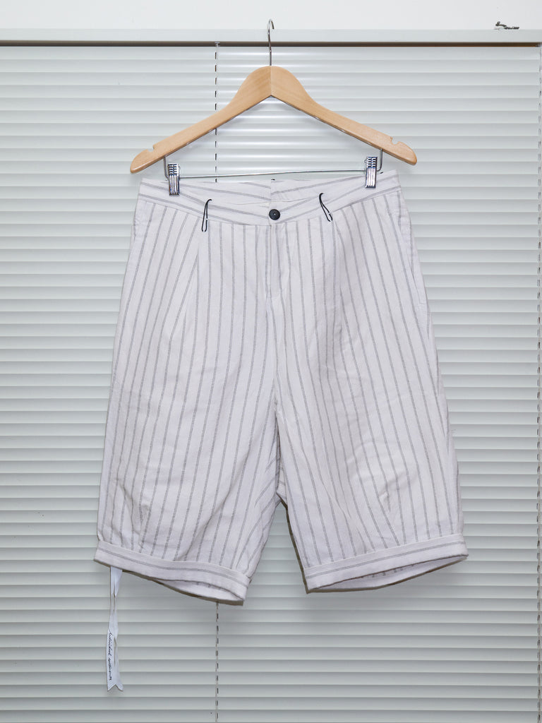 Individual Sentiments SS2014 cream striped ramie blend shorts - mens S M