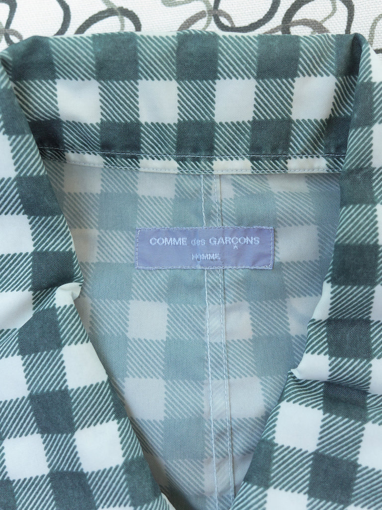 Comme des Garcons Homme 2000 teal green nylon gingham zip jacket - mens M