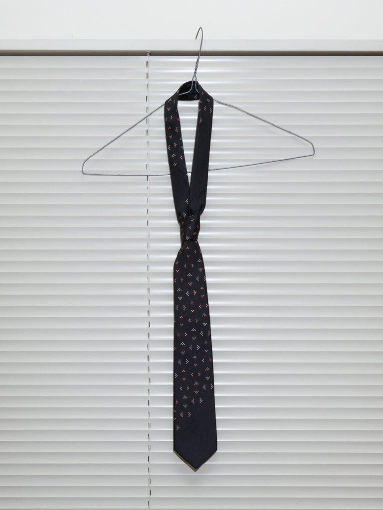 Yohji Yamamoto Pour Homme black silk triangle patterned neck tie