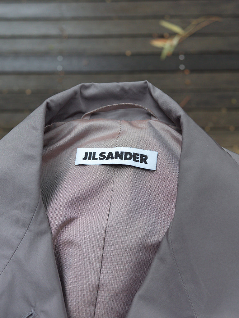 Jil Sander silver gray poly silk 4 button coat - womens 34 36 / mens XXS XS
