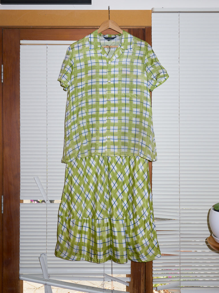 Comme des Garcons 1993 green rayon check short sleeve shirt skirt set - womens M