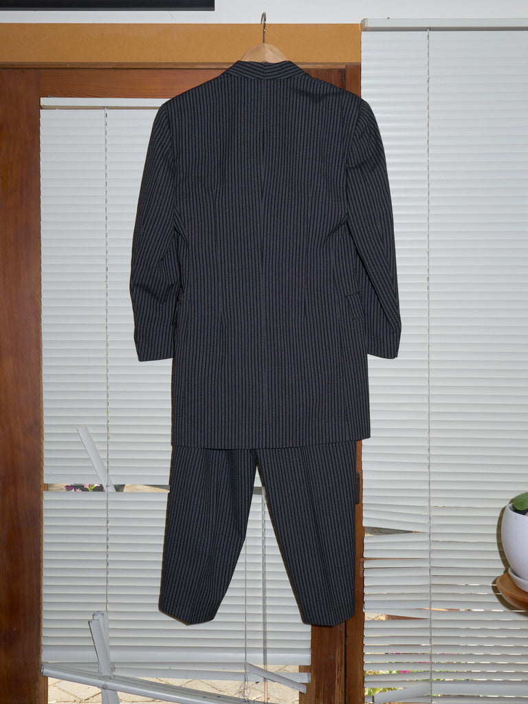 Comme des Garcons 1980s grey wool stripe shawl collar coat trouser suit - size S