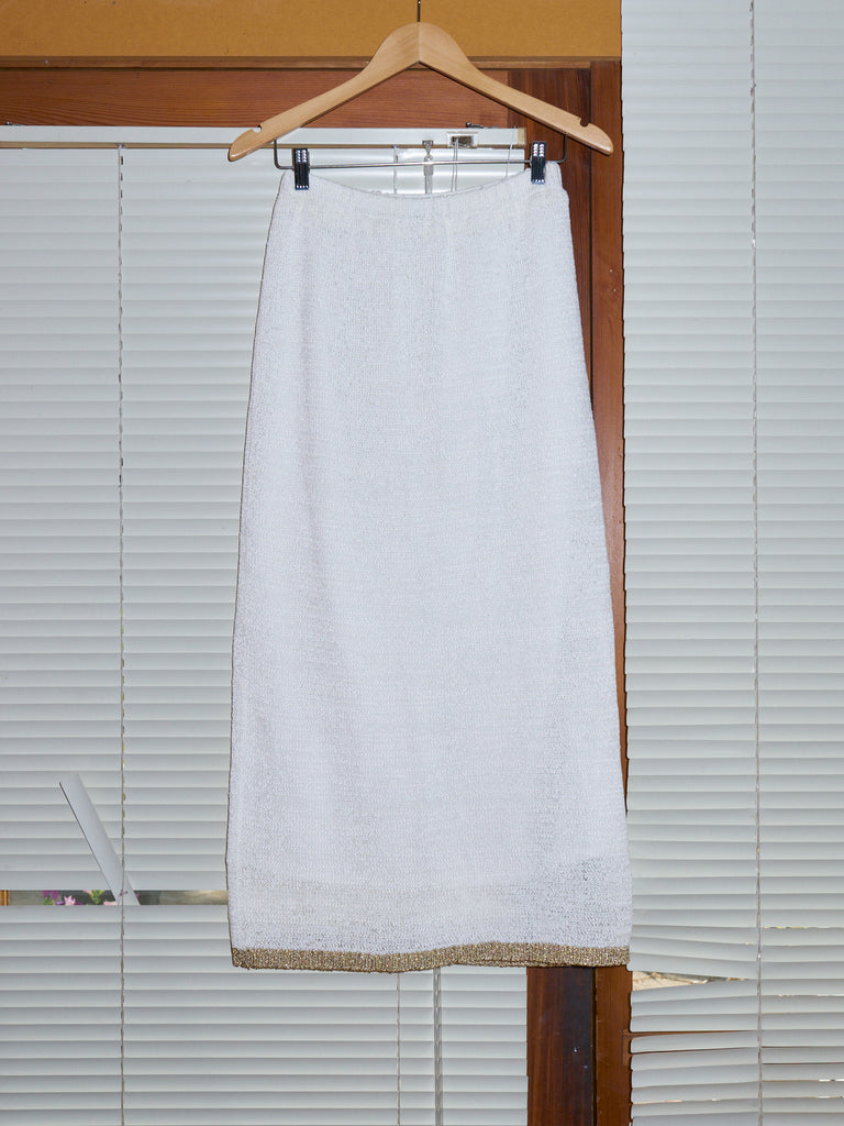 Undercover AW 1997-98 white knitted gold edge top and skirt set - womens S