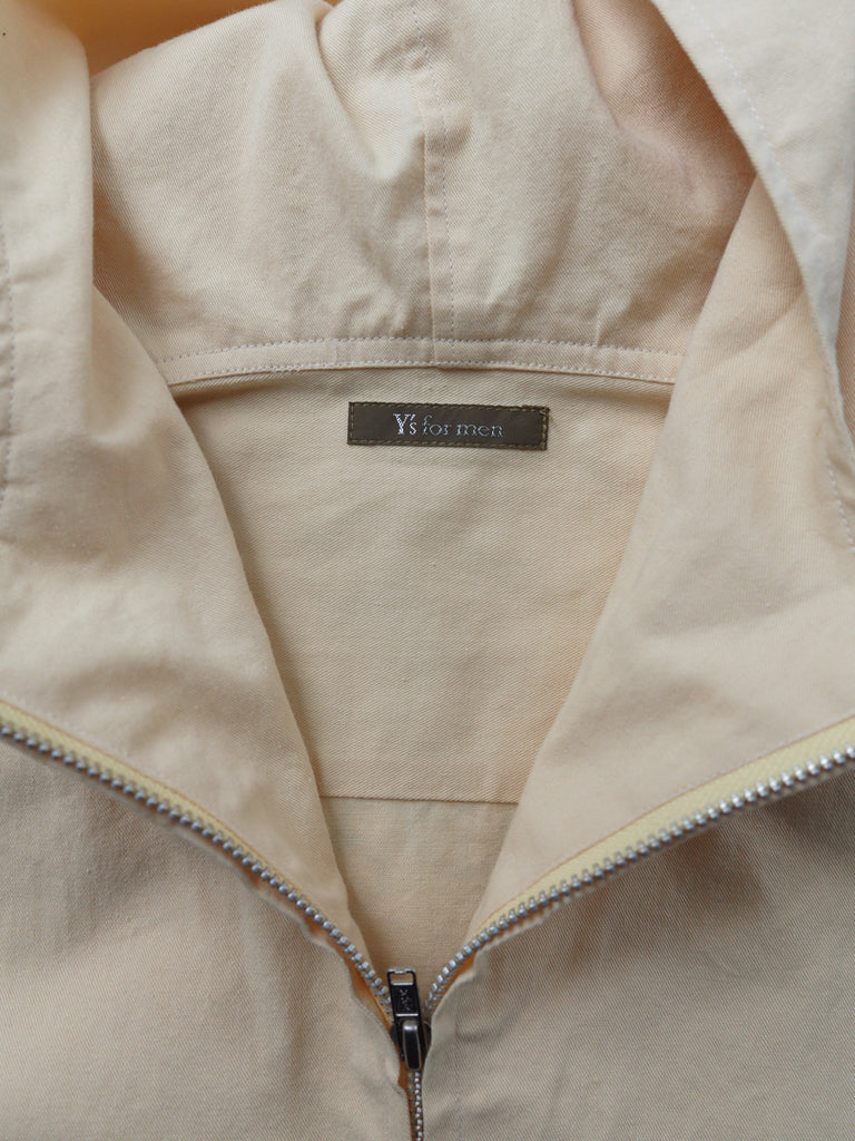 Ys for Men Yohji Yamamoto 1990s yellow cotton zipped hooded shirt jacket - sz L