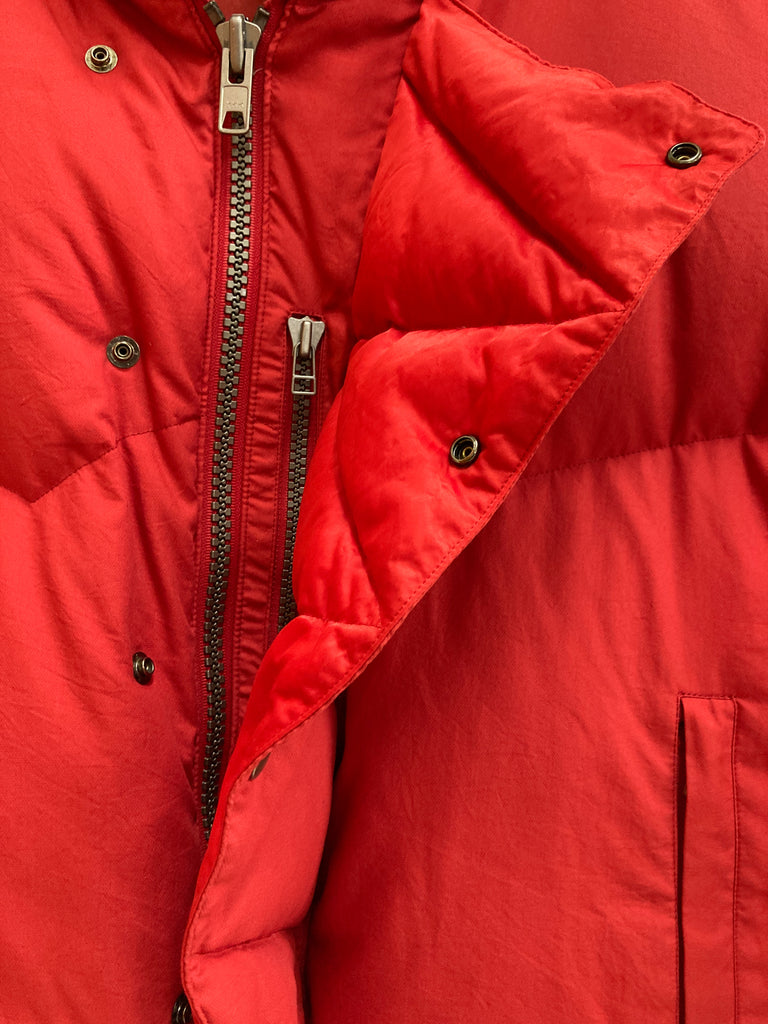 Issey Miyake 1990s red polyester collar hood multi pocket down jacket - mens L M