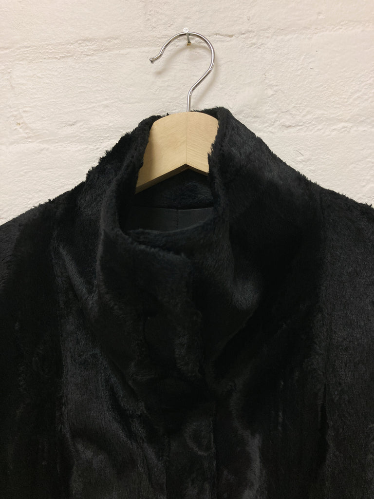 Martine Sitbon 1990s black faux fur high neck stand collar coat - womens 38