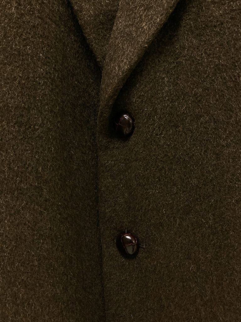 Margaret Howell 1980s brown wool leather button blazer - mens size M