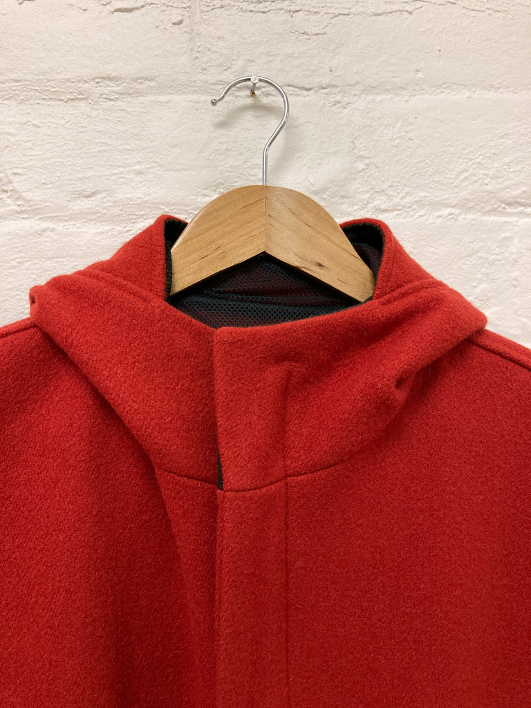 Generic Costume 1990s red wool melton high neck hooded zip coat - mens S XS