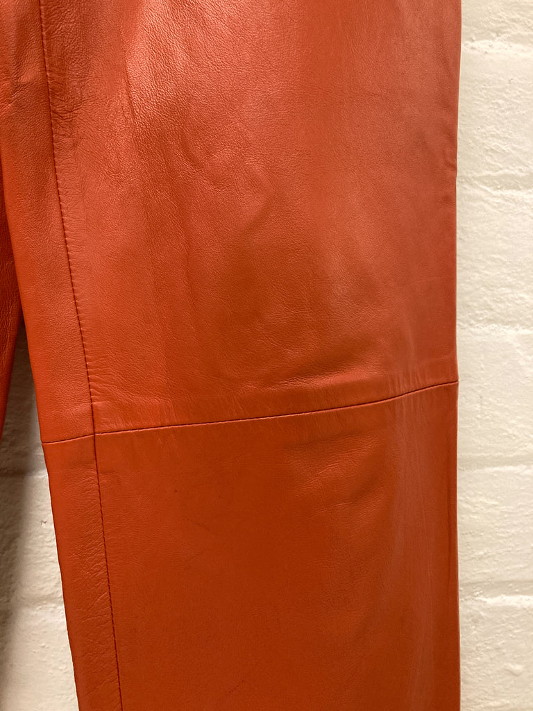 Mistake? by Ozwald Boateng 1990s burnt orange cowhide leather suit - size 36 XS
