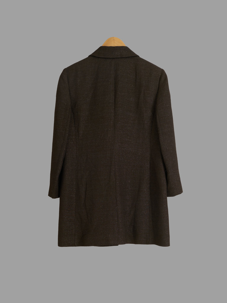 Hanae Mori Week-End brown wool blend single button coat - womens size 40
