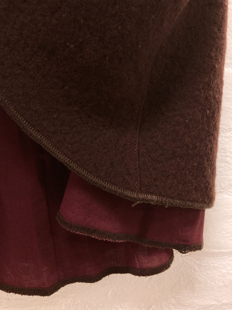 Mandarina Duck 1990s brown boiled wool exposed lining a-line skirt - size 40