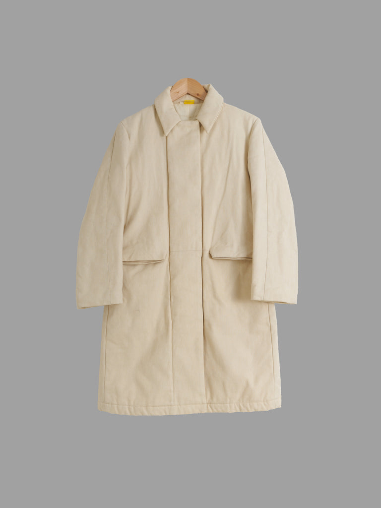 Mandarina Duck beige padded covered placket mackintosh coat - womens size 40