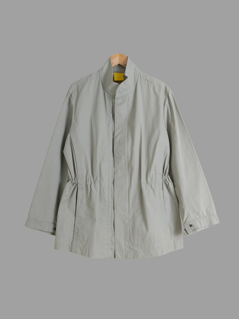 Mandarina Duck 1990s khaki grey drawstring waist stand collar jacket - mens 48