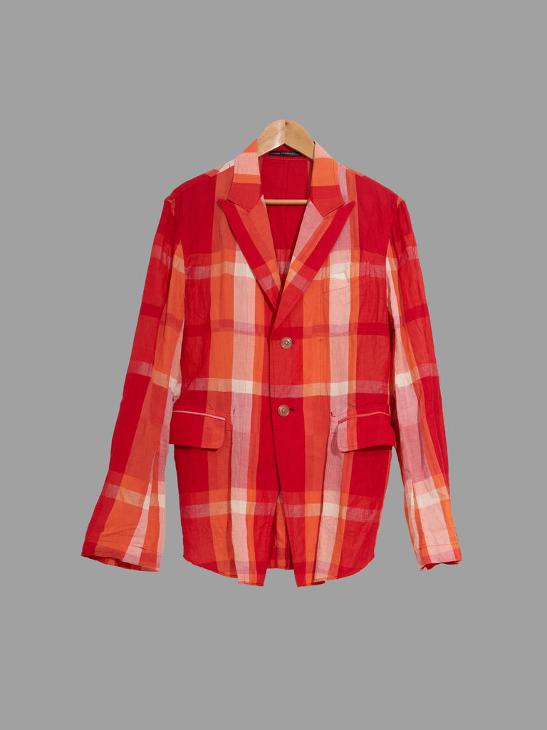 Y's Yohji Yamamoto red and orange check two button peak lapel blazer - mens S M