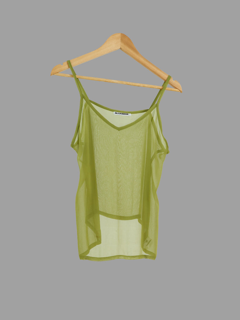 Jil Sander 1980s green sheer viscose camisole top - womens size 38