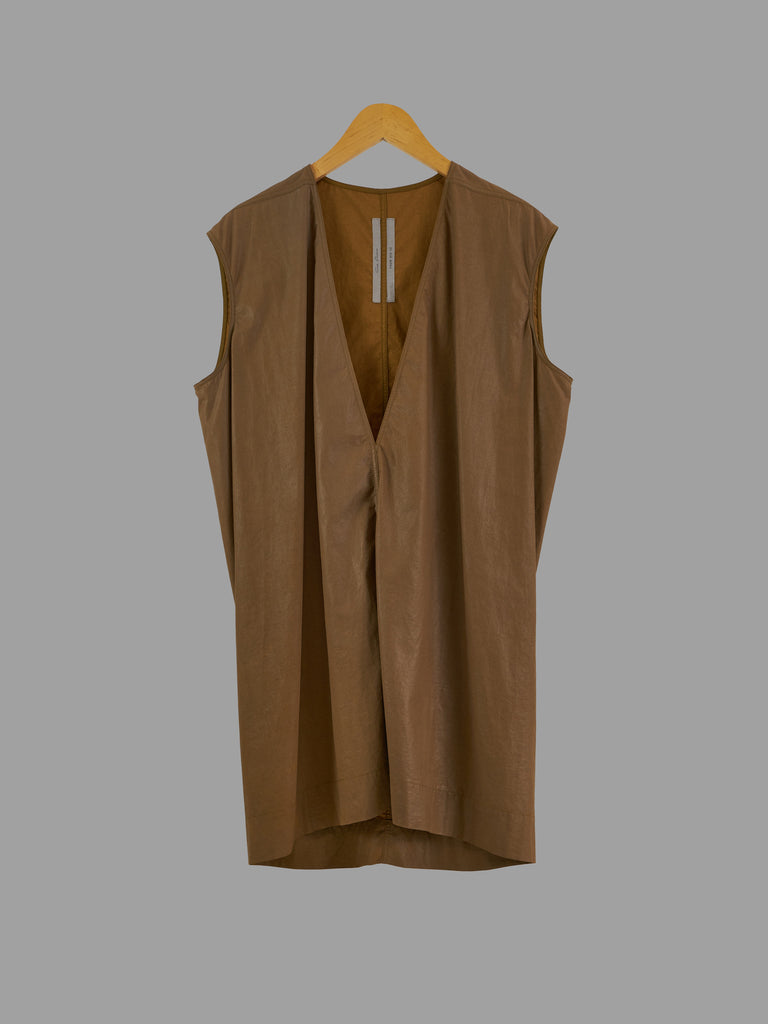 Rick Owens SS2015 FAUN brown coated cotton v neck sleeveless tunic - mens XS