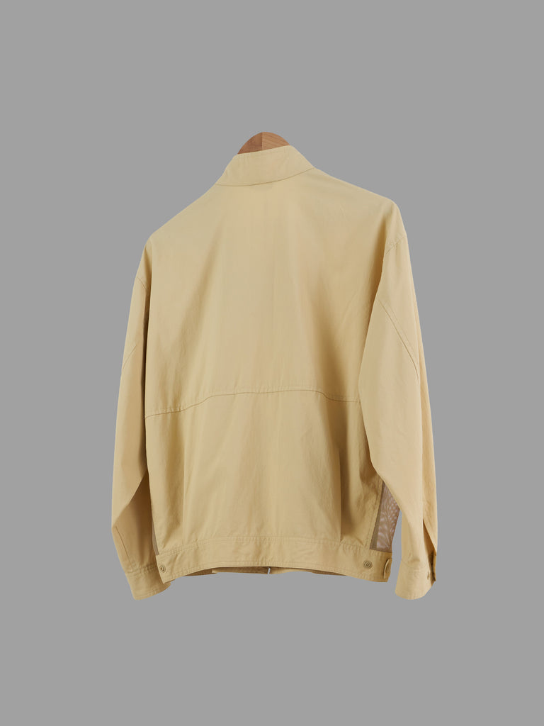 Kenzo Golf beige polyester high neck mesh panel windbreaker jacket - M L