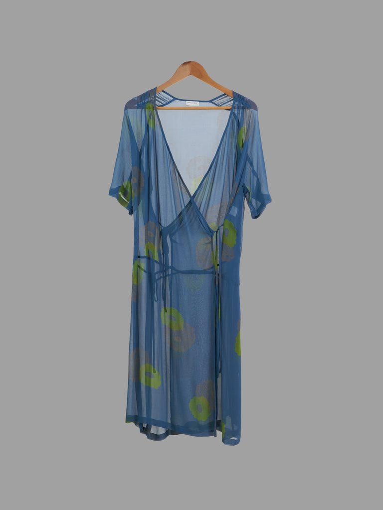 Dries Van Noten blue sheer silk wrap dress with lime floral print - size 40