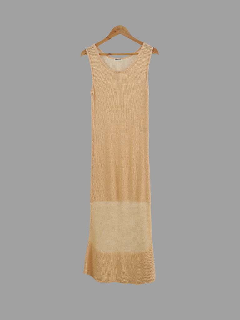 Issey Miyake Plantation 1980s peach cotton nylon knitted sleeveless dress - M S