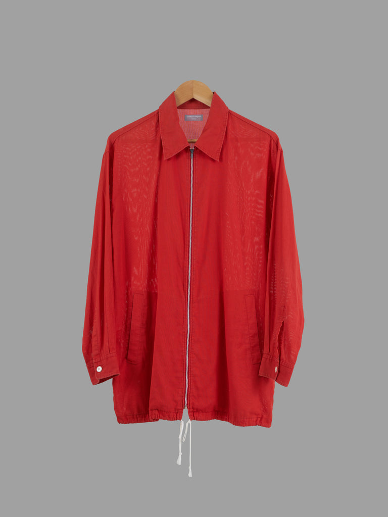 Comme des Garcons Homme 1997 red cotton drawstring hem zip jacket - approx M