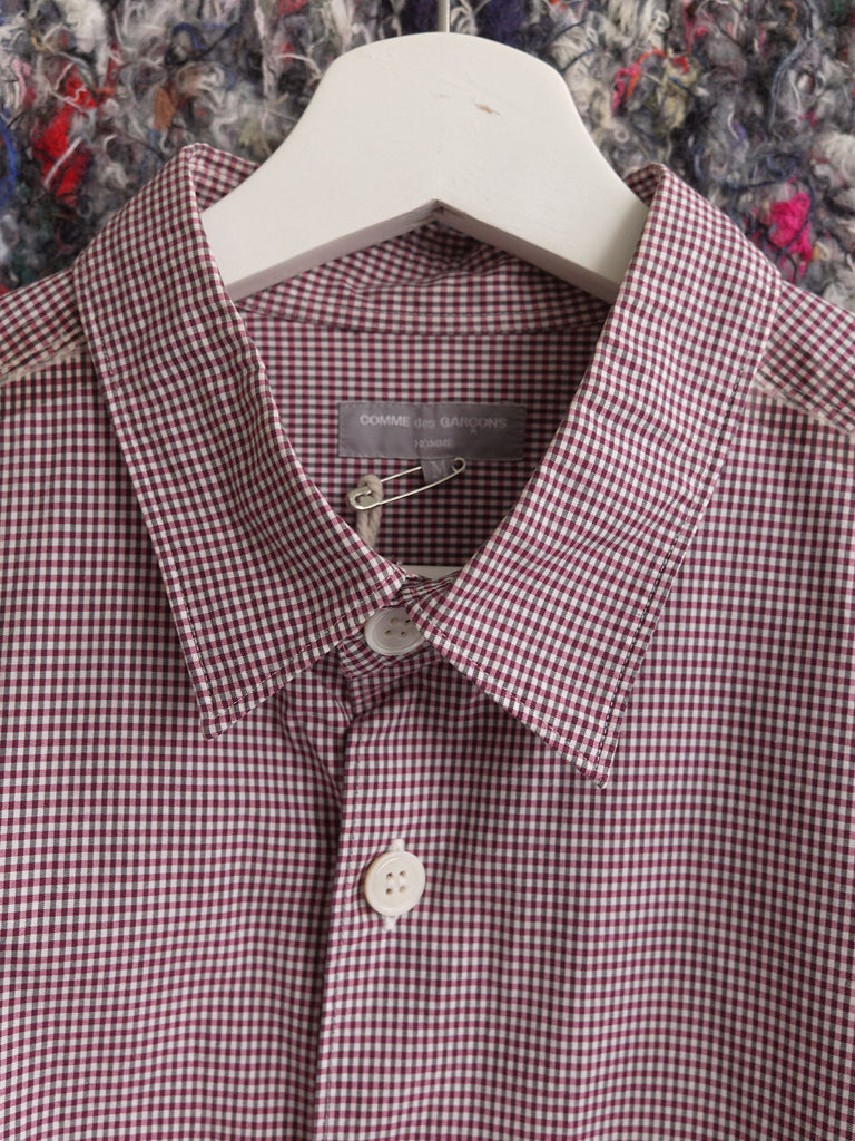 Comme des Garcons Homme 2003 purple white gingham taped seam shirt - size M