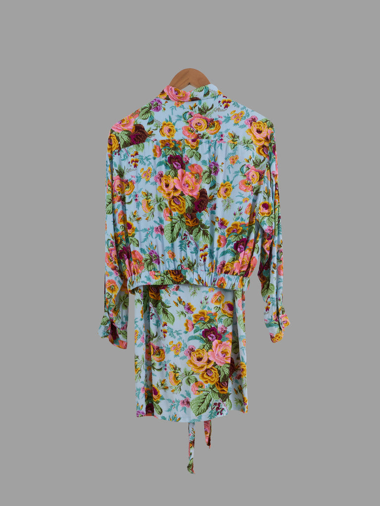 Kenzo multicolour floral rayon zip jacket and wrap skirt suit set - size M S