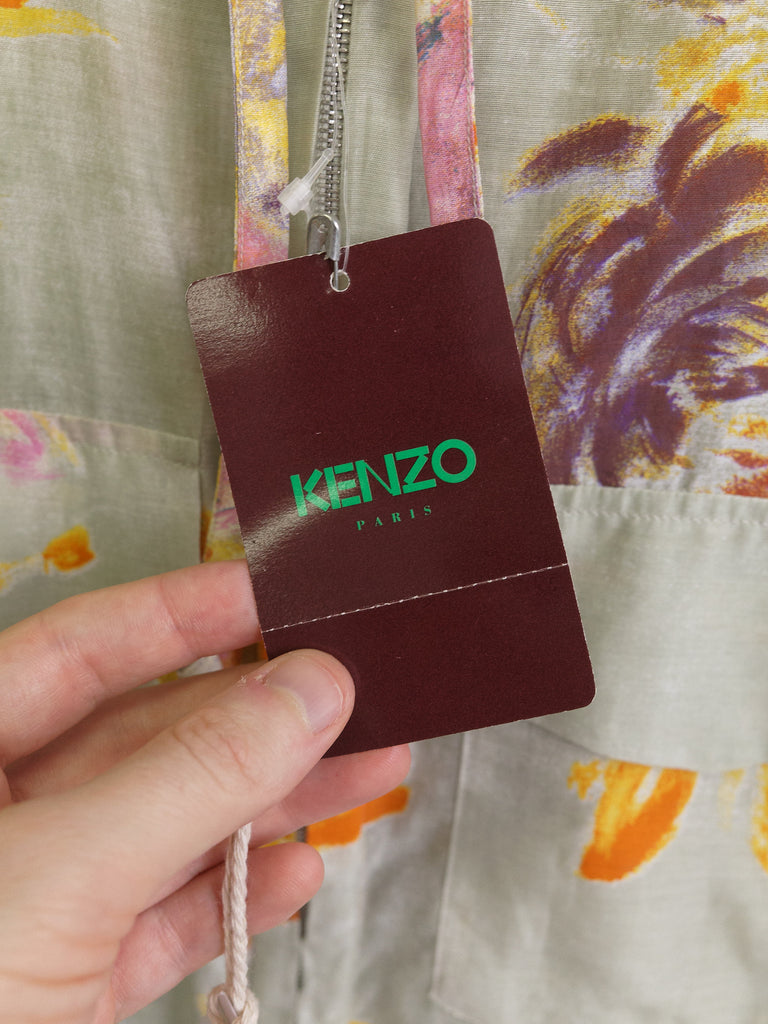 Kenzo sage green cotton silk floral pattern dress and jacket suit set - size 38