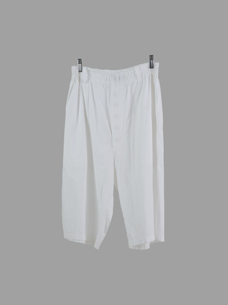 Issey Miyake Men white cotton sheer elastic waist drop crotch shorts - 1 S M
