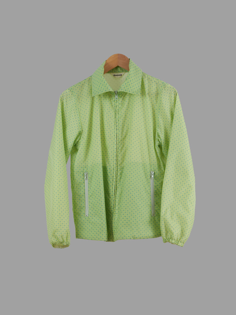 Zucca green patterned nylon reversible mesh lined zip jacket - womens size S
