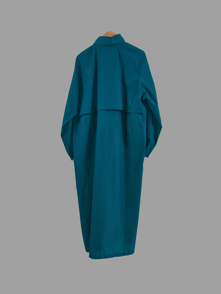Woolrich Woman 1990s aqua green nylon extra long purple trim raincoat - size L