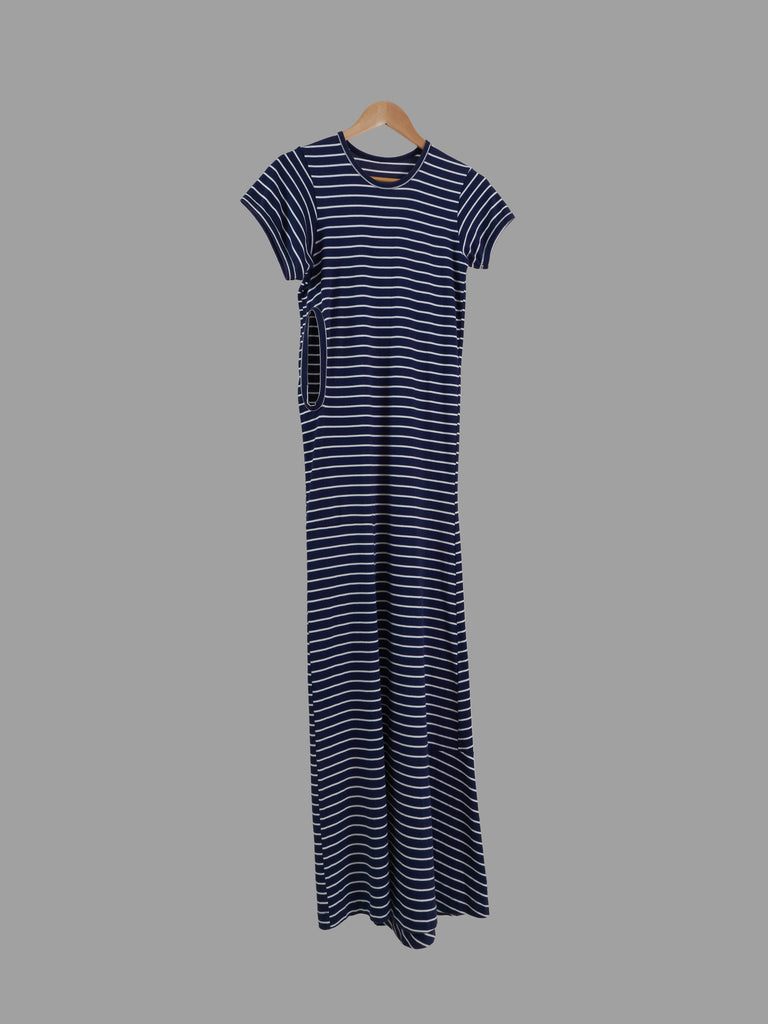 Comme des Garcons 2001 navy striped cotton jersey triple armhole maxi dress