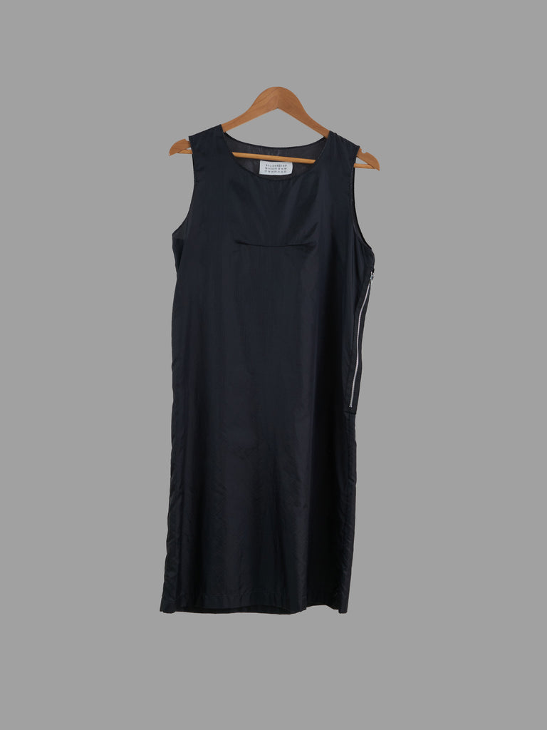 Maison Martin Margiela line 6 1990s - 2000s black ripstop nylon sleeveless dress