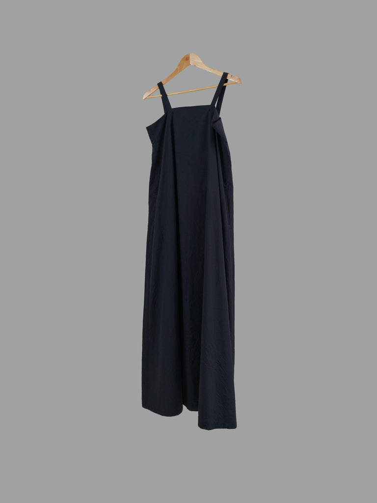 Y's Yohji Yamamoto dark grey cotton silk flared pinafore dress - JP 3 approx M