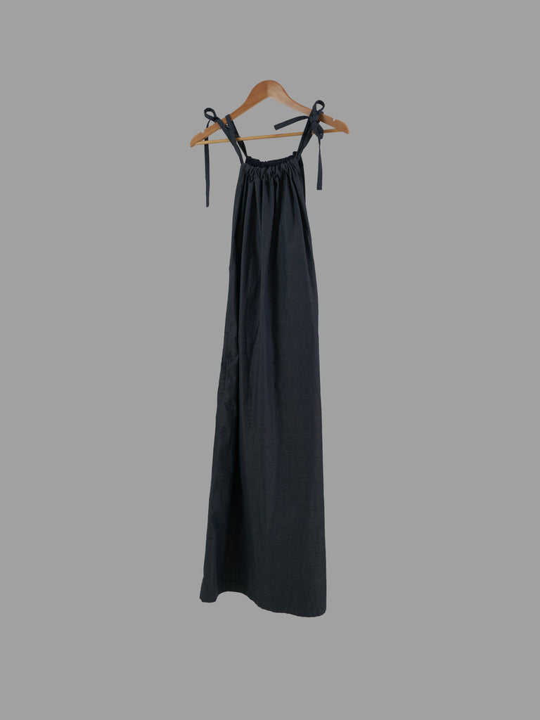 Y's Yohji Yamamoto grey cotton poly drawstring strap suspender dress - 3 M S