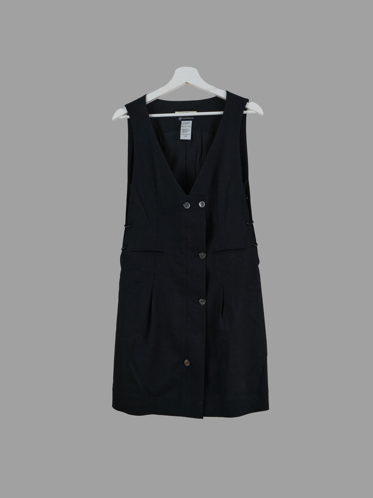 Naoki Takizawa black wool 'hand stitch' buttoned v neck sleeveless dress - 38