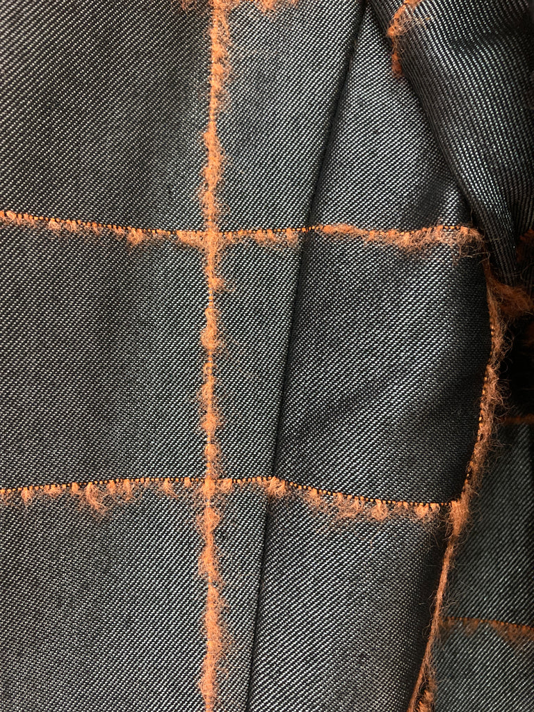 Toshiyuki Fuchigami glossy grey blazer with fluorescent orange check - size 48