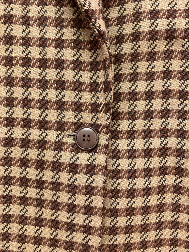 Erreuno (Giorgio Armani) 1980s brown wool check one button blazer - size 40