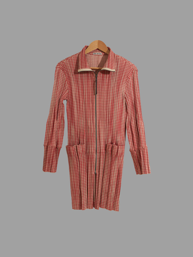 Issey Miyake orange gingham pleated polyester high neck zip coat - L M