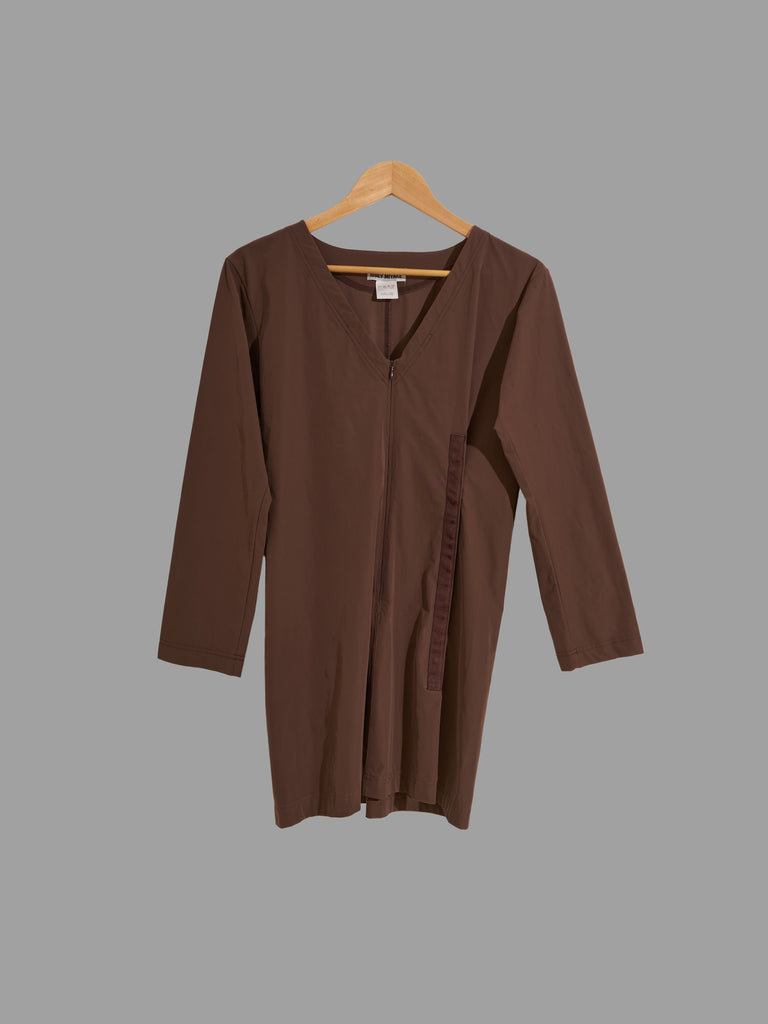 Issey Miyake brown press stud detail brown v neck tunic dress - size 2 JP M S