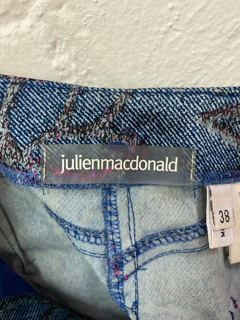 Julien Macdonald blue and pink floral embroidered denim print skirt - size 38