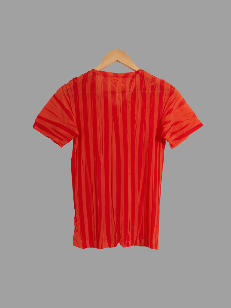 Issey Miyake creased red and orange stripe semi-sheer tshirt - approx S M