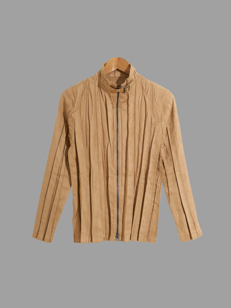 Issey Miyake beige creased polyester faux suede high neck zip jacket - size 2 M