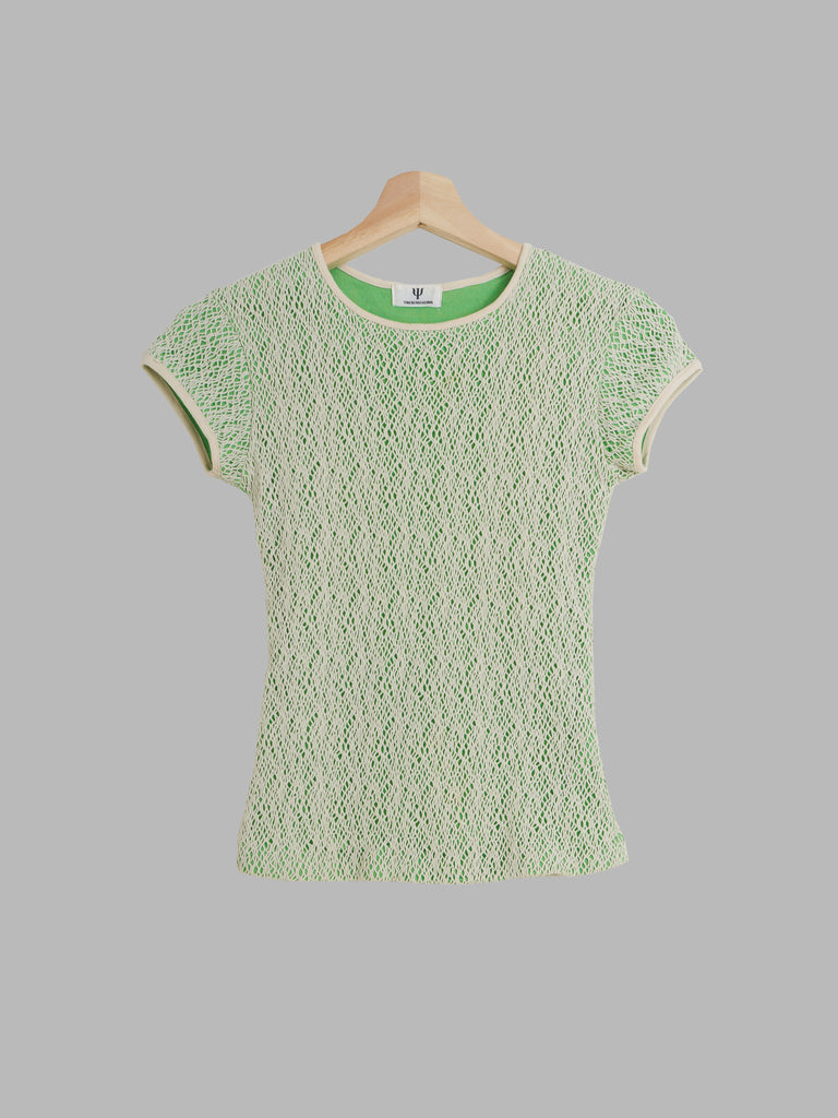 Yoichi Nagasawa beige and green layered netting tshirt - womens XS S